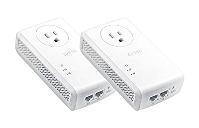 ZyXEL Pass-Thru Ethernet Adapter Powerline 2-port Gigabit 2-Pack in Brown Box