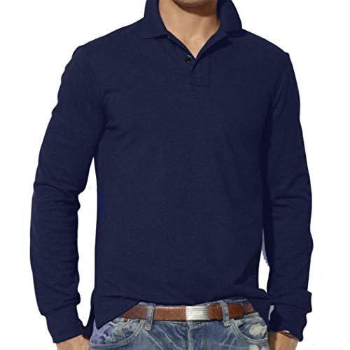 Slim Lunghe Casuale Uomo Manica Maglietta Blu Maniche Di Plain Modo Superiore Bavero Maglie Colore Camicia Solido Degli Uomini Lunga Marino Da A La Camicetta Moda Jiameng fRHqEZn