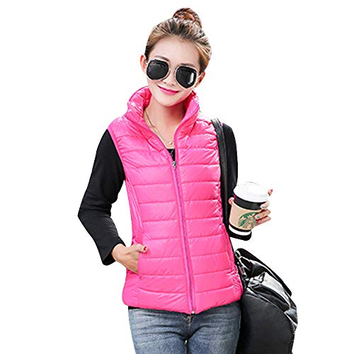 Down KINDOYO Jacket Red Gilet Stand Vest Body Womens Warmers Jacket Zip Sleeveless Collar Rose Coat Up Vest rHqrBx5