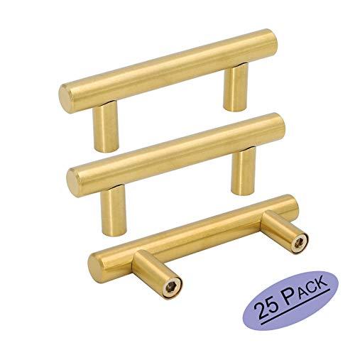 Goldenwarm 25pcs Brushed Brass Kitchen Cabinet Hardware Handle 1/2 Diameter T Bar Handles Furniture Gold Door Drawer Pulls Knobs Hole Spacing 64mm 2-1/2in