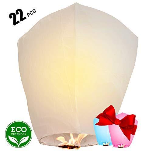 Chinese Lanterns 22-Pack - 100% Biodegradable, Paper Sky Lantern - Japanese Lantern for Weddings, Celebrations, Memorial Ceremonies - White Flying Wish Lanterns, 2 Bonus Colourful Lanterns blue & pink