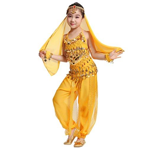 MUNAFIE Children Belly Dance Costumes Fancy Party Cosplay Costumes Halloween Dance (Good Costumes For Halloween Dances)