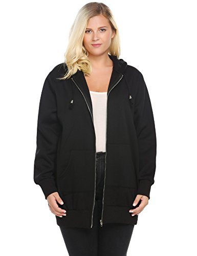 Involand Women Casual Zip up Fleece Hoodies Tunic Sweatshirt Long Hoodie Jacket,Black,20