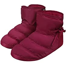 Greenery Womens Mens Winter Quilted Down Indoor Slippers Warm Floor Socks Waterproof Thick Fleece Lining Non-slip Slip on Snow Boots Thinsulate Ankle Bootie Shoes Lightweight Cozy Bedroom Mules