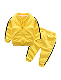 Chinatera Baby Girls Boys Clothes Set Two-Pieces Solid Jacket Pants Tracksuit Cotton