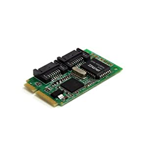 Startech MPEXSATA22I - Adaptador tarjeta Mini PCIe a 2 puertos controladora SATA II RAID (PC, Mac)
