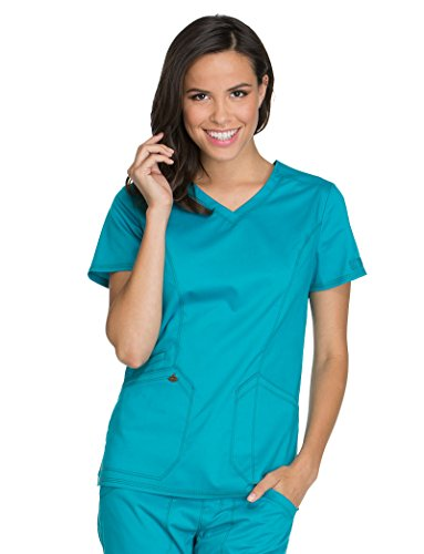 Dickies Essence Women's V-Neck Solid Scrub Top XX-Small Teal Blue