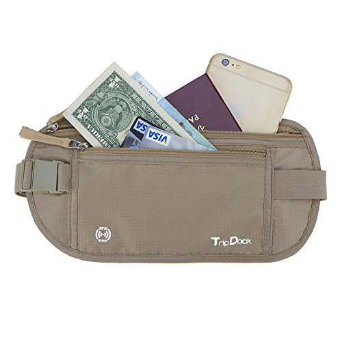 - TripDock Fanny Pack/Travel Waist Bag/RFID Blocking Money Wallet Belt for Outdoor Sports/Running/Hiking/Cycling Khaki