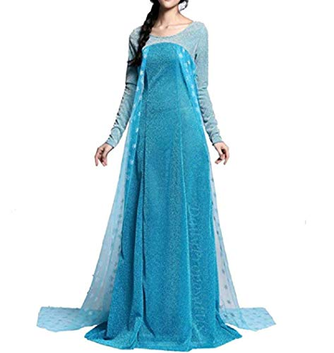 Peachi AE4 Frozen Inspired Lace Elsa Costume Dress Halloween Girl Cosplay Party S-XXL (XXL) -