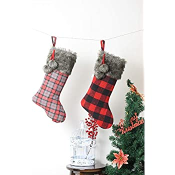 CSH Christmas Stockings,Christmas Tree Decorations,2 Pcs 21 inches Buffalo Plaid Christmas Stockings with Gray Plush Trim,Personalized Stocking Decorations for Xmas Party Decorations,Gifts Christmas.