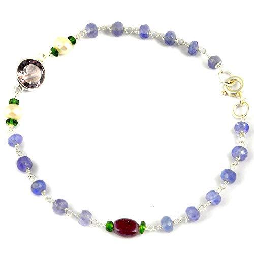 (Orchid Jewelry Multi Gemstones. Freshwater Pearl 925 Sterling Silver Bracelet Women's)