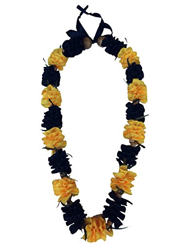 Hawaiian Ribbon Lei, Black and Gold-Ilima 32 Inch by Hawaii UWT