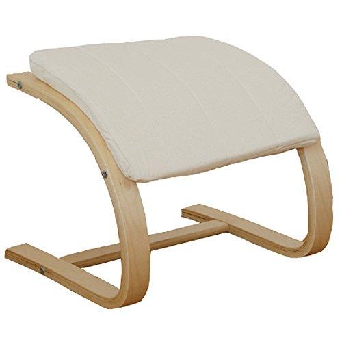 Homestyle4u Hocker Fußhocker in beige natur Rahmen Sitzhocker Sitzwürfel für Schwingsessel Freischwinger Sessel Schaukelstuhl