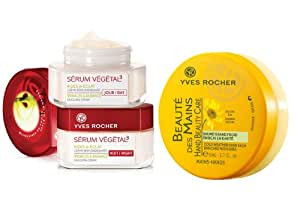 Yves Rocher 3-piece Skincare Set: Serum Vegetal 3 Wrinkles Radiance Dazzling Day Cream, 50 ml / Serum Vegetal 3 Wrinkles Radiance Dazzling Night  Cream, 50 ml &  Beaute Mains ( Beautiful Hands Cream with Organic Arnica enriched with Shea)., 50 ml . FRANCE-Imported