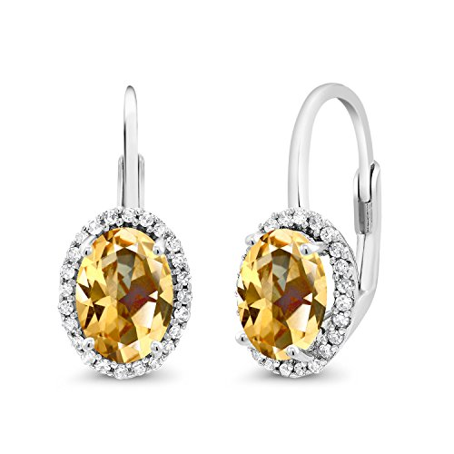 10K White Gold Dangle Earrings Diamond and Set with Honey Topaz from (10k I1 Earrings)