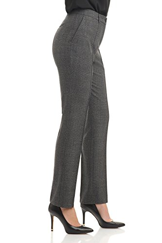 Rekucci Collection Women's Stretch Wool Tailored Pants (16,Grey Glencheck) by Rekucci (Image #1)