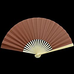 "Quasimoon 9"" Brown Paper Hand Fans for Weddings, Premium Paper Stock (10 Pack) by PaperLanternStore"