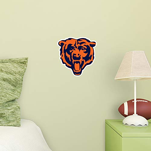 FATHEAD NFL Chicago Bears - Bear Head Logo Teammate- Officially Licensed Removable Wall Decal, Multicolor, Large