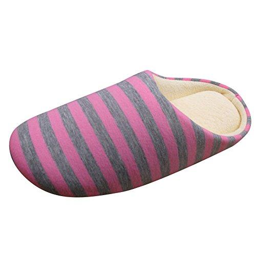 l'hiver Chaussons à Anti Hommes à Pink rayures Chaussures Dérapant d'intérieur Pantoufles Chauds et femmes qZwwtEP