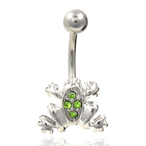 Cute Green Gemmed Frog Navel Ring Steel Belly Button Piercing Jewelry