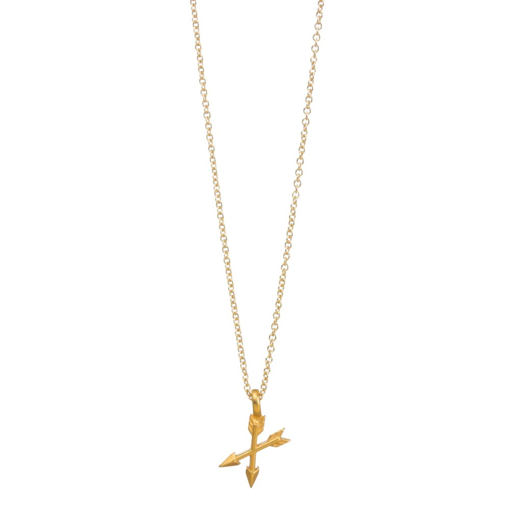 Dogeared Women's Best Friend Ever, Crossing Arrow Necklace Gold Dipped Necklace