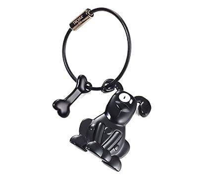 TROIKA PETE – KR10-21/BK – Keyring – dog – man's best friend – keychain, key chain – cast metal– matt – black – TROIKA-original