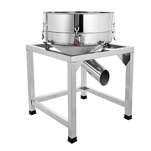 Happibuy Automatic Powder Sifter Shaker Machine 110V 300W Flour Sieve Machine Stainless Steel 2 Screens Industrial (Silver)