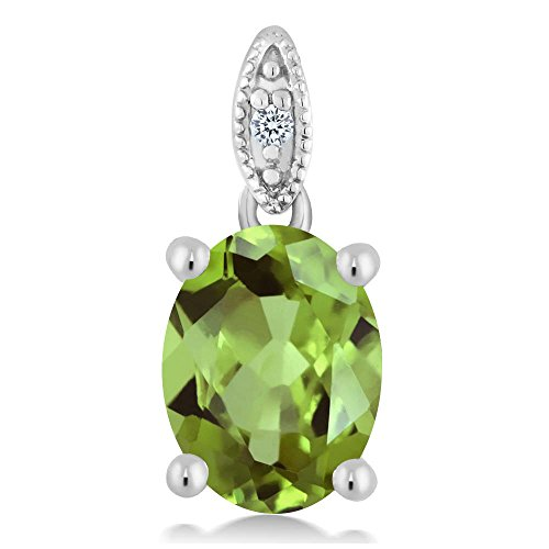 Gem Stone King 10K White Gold Round Diamond and 9X7MM Green Peridot Pendant Necklace (1.80 cttw, With 18 Inch Chain) (10k Peridot Necklace)