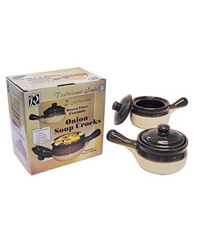 R&M International 7630 Traditional Style Ceramic 15-Ounce French Onion Soup Crocks, Set of 2 2 French Onion Soup Bowls