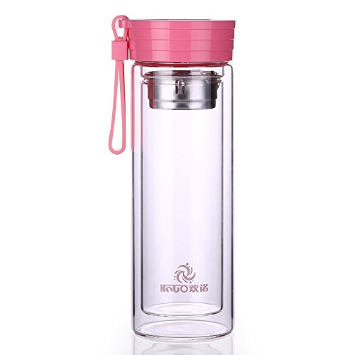 Pink Double Wall Glass Bottle Water Bottle Travel Drink Cup Tea Infuser 320Ml by Travel Mugs