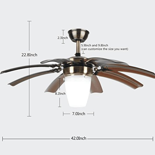 Luxurefan Modern Simple Ceiling Fan Light For Living Room Bedroom With 8 Retractable Abs Leaves