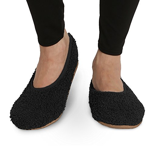 Pembrook Super Soft Slipper - Black - Medium (7-8) - Memory Foam - Faux Shearling Lining - Great Plush Slip On House Slippers For Adults, Women, Girls (Lining Shearling)