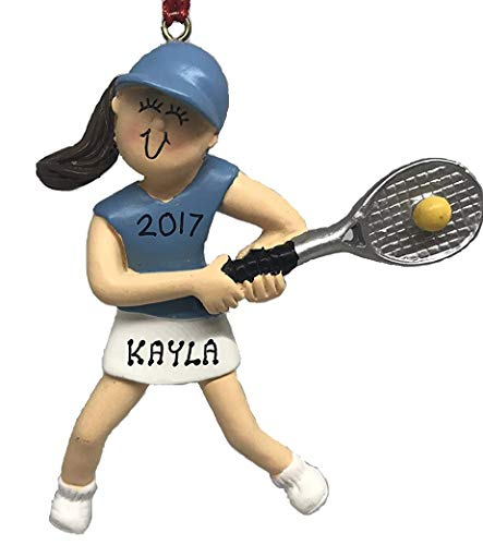 (Personalized Girl Brunette Playing Tennis Player Christmas Ornament 2019)
