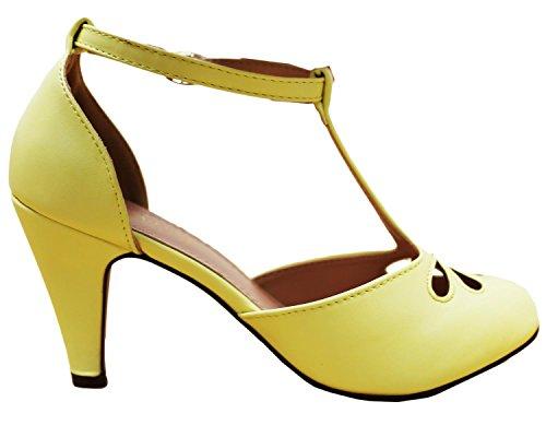 Cambridge Select Womens Teardrop Knipsel T-strap Mary Jane Dress Pump Lemon