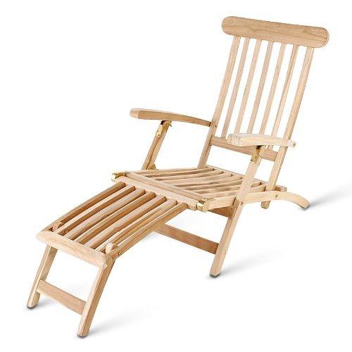 SAM® Teak-Holz Deckchair, Liegestuhl, Sonnenliege Puccon, verstellbare Liege aus Massivholz, zusammenklappbar, platzsparend zu verstauen im Winter