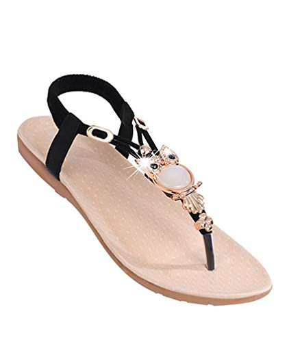 YOUJIA Women Beaded Boho Beach Round Clip Toe Sandals Flip Flops Flat Elastic T-Strap Thong Sandals Shoes Black