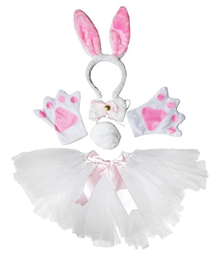 Petitebella Headband Bowtie Tail Gloves Tutu Unisex Children 5pc Girl Costume (Bunny)