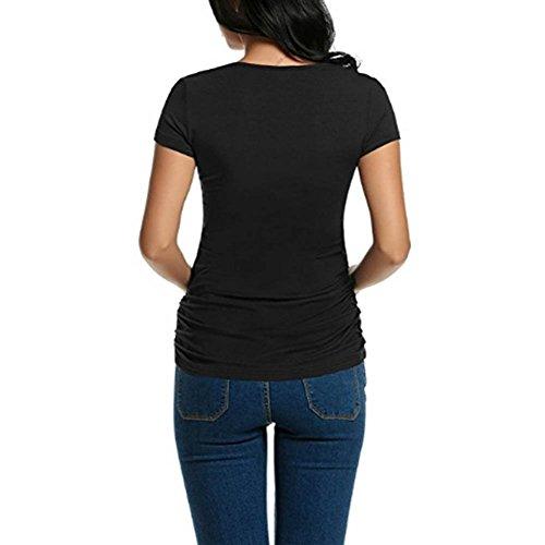 Camicia per a Donna Corte per Nero Manica Mom XL Gift a Incinta Baby al Donna Maniche Corte Hellomiko Seno per L'Allattamento Incinta amp; Maniche dvIxpd7