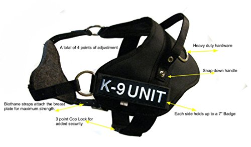 Redline K9 Medium Dual Purpose Dog Harness - Tracking & Protection Girth 27''-33'' with 2 'K9 Unit' Embroidered Badges by RedLine K9