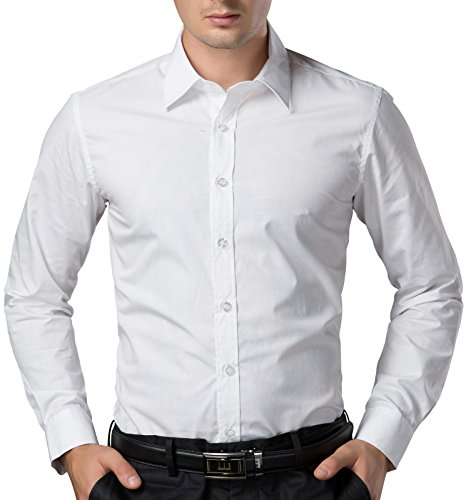 PAUL JONES White Business Casual Dress Shirts for Men Long Sleeves (L) by PAUL JONES