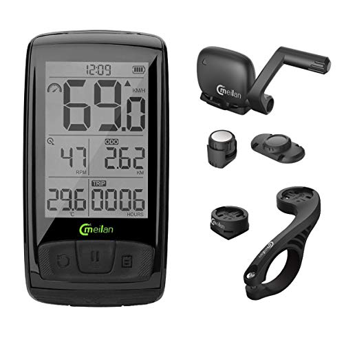 Meilan M4 Bike Computer Wireless 2.5 Inch IPX5 Waterproof Cycling Computer Bicycle Speedometer and Odometer Cycle Computer with ANT+ Speed & Cadence Sensor ()
