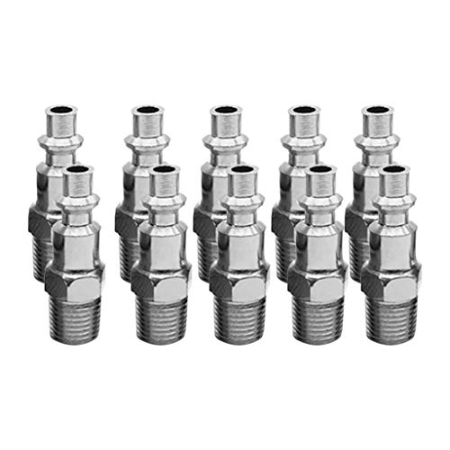 (Hanesy M Style Air Hose Fittings 1/4 Male NPT Coupler Plugs American Outer Wire Quick Connector 10pcs)