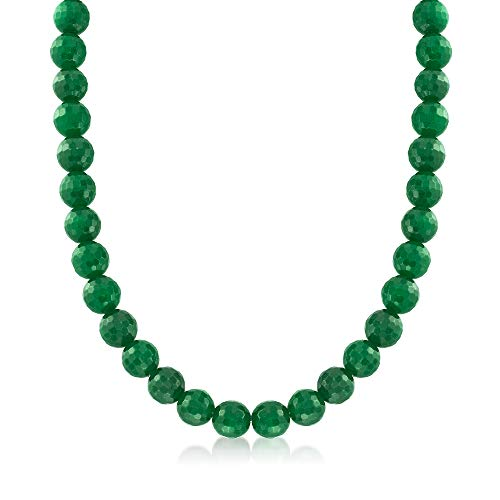 Ross-Simons Faceted Green Jade Bead Necklace With Sterling Silver