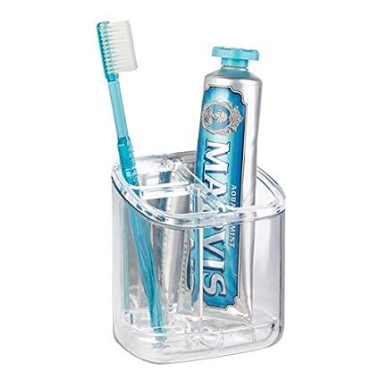 mDesign Accesorios para el baño - Porta cepillo de dientes autoadhesivo - Ideal como soporte para