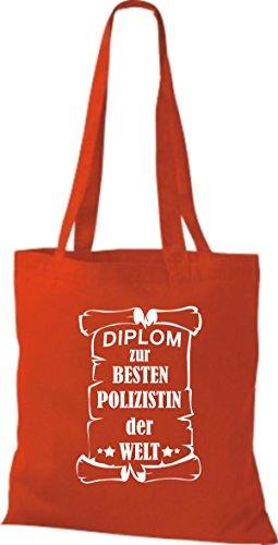 Welt Para Tela Policía Diploma Besten Rojo Bolso Shirtstown De Der La Mujer nqEIvwf