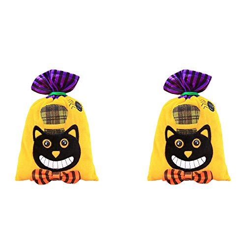 Halloween Kids Candy Bags,SIX-SEVEN Trick or Treat Candy Children Arts & Crafts,Event Supplies Pumpkin Decoration Skull Witch Cat Candy for Halloween Birthdday Decorations-2 PCS/Black Cat Bag ()