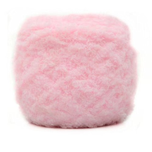 Pink Soft Coral (Celine lin One Skein Super Soft Warm Coral Fleece Knitting Yarn for Baby 100g,Light pink)