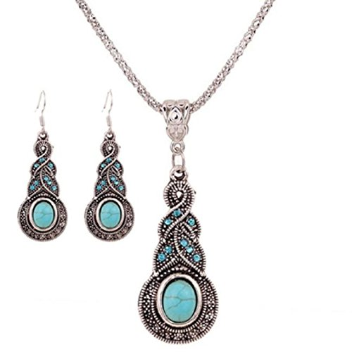 Ikevan Fashion Retro Turquoise Pendant Chain Bib Necklace Earrings Jewelry Set for Women Girls (1pc Necklace&1 Pair Earrings) - Girl Different Of Types Styles