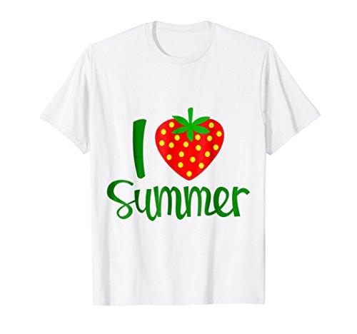 I Love Summer TShirt with Big Heart Shaped Strawberry