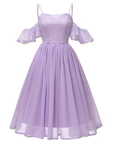 Women's Lace Midi Homecoming Dress Ruffled Off The Shoulder Straps Chiffon Gown Lavender L